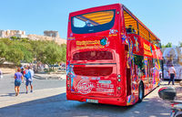 ity Sightseeing Bus at bus stop near Acropolis