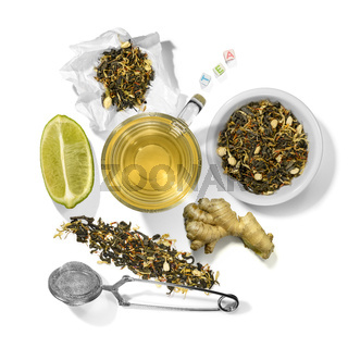 Green tea with aromatic additives and accessories. Top view on white background