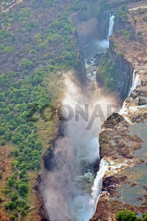 over the victoria waterfalls in zambia