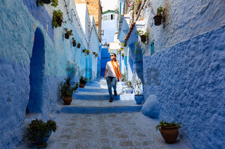 Narrow streets and blue painted houses of Chefchaouen city