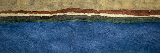 lake or ocean shore - colorful abstract paper landscape