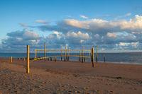 Sunset on the empty beach, Hjerting, Jutland, Denmark