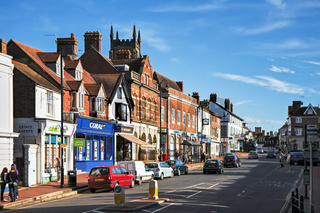 View of High Street Shops in East Grinstead West Sussex