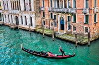 Venice, Italy - 03/16/2019 - gondola ride on the Grand Canal