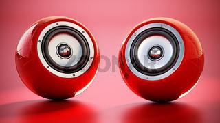 Generic smart speakers standing on red background. 3D illustration