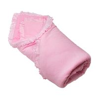 Pink baby recieving blanket. Rolled up soft cloth isolated on white