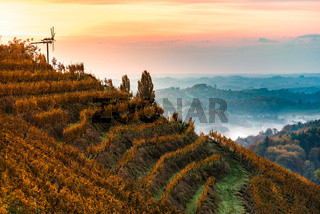 Autumn View from South Styrian route in Austria at hills in Slovenia during sunraise.