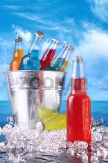 Summer drinks in ice bucket on the beach