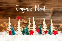 Tree, Snow, Red Star, Joyeux Noel Means Merry Christmas, Wooden Background