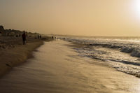 Beautiful long sandy beach in The Gambia,