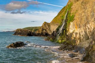 Welsh coast in Tresaith, UK