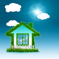 Eco House concept design over blue backgrounds