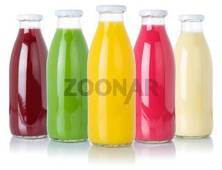 Fruit juice smoothies fruits orange drinks collection bottles isolated on white