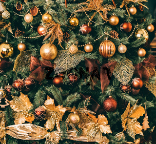 Golden Christmas tree look, decor in country style as holiday home decoration