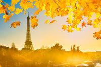 Beautiful sunset with Eiffel Tower