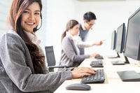 Smiling call Center working