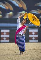 NAGALAND, INDIA, December 2013, Naga Tribal dance, Hornbill festival