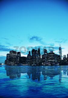 New York City cityscape at sunset