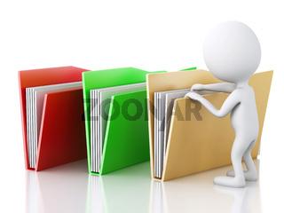 3d image. White people examines folders.