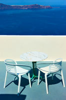 Terrace above the sea in Santorini