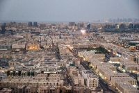 View of old Dubai from the Observation deck on the Dubai Frame in Dubai, UAE
