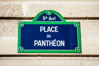 Place du Pantheon street sign, Paris, France