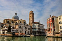 Venice, Italy - March 16, 2019 - Grand Canal with Church of San Geremia