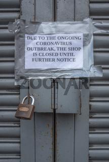 Coronavirus Closed Store Sign