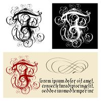 Decorative Gothic Letter F. Uncial Fraktur calligraphy.