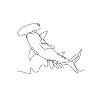 Scalloped Hammerhead Shark or Sphyrna Lewini Jumping Continuous Line Drawing Black and White