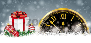 Christmas Snow Red Baubles Twigs Percents Gift Clock Header