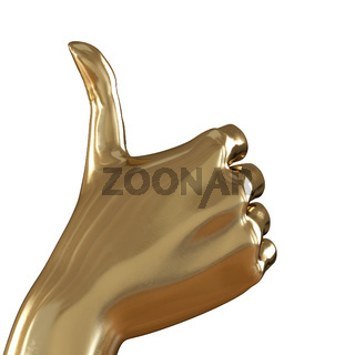 Golden hand with thumb up on a white background. 3d rendering