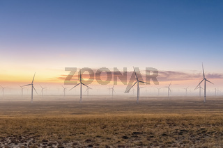 wind farm on autumn wilderness