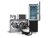 Household appliances fridge microwave washing vacuum cleaner washing machine with dryer fryer 3d render on white background with shadow