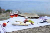Picnic set on blanket at seaside