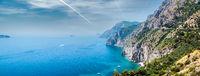 Panorama of Via Nastro Azzurro, Amalfi Coast. Italy