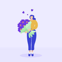 Girl holds a bouquet of flowers, Valentine s Day, March 8, delivery concept. Flat modern illustration. Vector