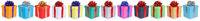Weihnachten Geschenke Geburtstag Weihnachtsgeschenke in einer Reihe schenken isoliert auf weiß