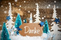 Christmas Trees, Snowflakes, Wooden Background, Label, Danke Means Thank You