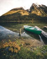 Beautiful autumn scene of Hintersee lake. Colorful morning view of Bavarian Alps on the Austrian border, Germany, Europe. Beauty of nature concept background.