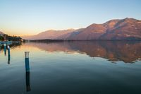 Panorama of Iseo lake at sunset