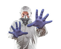 Man Wearing Hazmat Suit Reaching Out With Hands Isolated On White