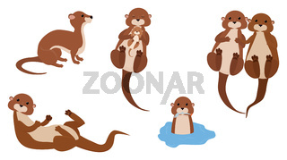 Cute cartoon otter mascot set, funny water animal