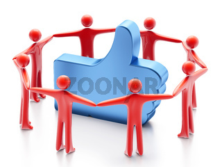 Hand-shaped amp;amp;quot;Likeamp;amp;quot; symbol and people around