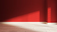 Red wall  and sunlight from window on the wall realistic 3D rendering