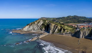 Aerial view of rock formations at Zumaia or Itzurun beach in Spain