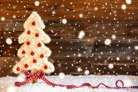 Fabric Christmas Tree, Ball, Snow, Copy Space, Snowflakes