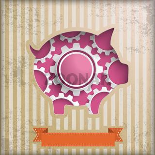 Vintage Piggy Bank Successful Gears PiAd