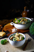 Real pasta with mushrooms, spinach and broccoli