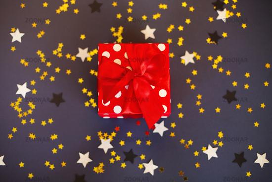 Christmas gift box on table